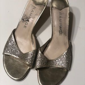 Silver and gold kitten heels
